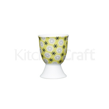 KitchenCraft Floral Yellow Porcelain Egg Cup