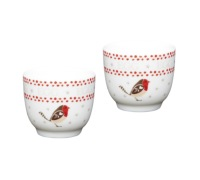 Little Red Robin Set of 2 Porcelain Egg Cups