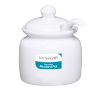KitchenCraft White Porcelain Mustard Pot With Lid and Spoon