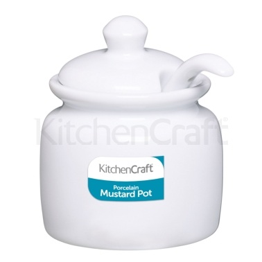 Kitchen Craft White Porcelain Mustard Pot With Lid and Spoon
