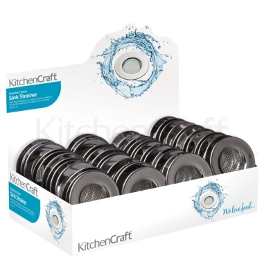 KitchenCraft Display of 48 Stainless Steel Sink Strainers