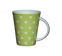 Kitchen Craft Fine Porcelain Lime Polka Mug