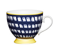 KitchenCraft Set of Four Bone China Navy Squares Footed Mugs