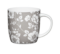 KitchenCraft Set of Four Fine Bone China Grey Floral Mugs