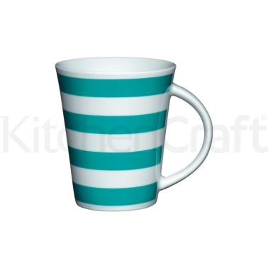 Kitchen Craft Fine Porcelain Teal Stripe Mug