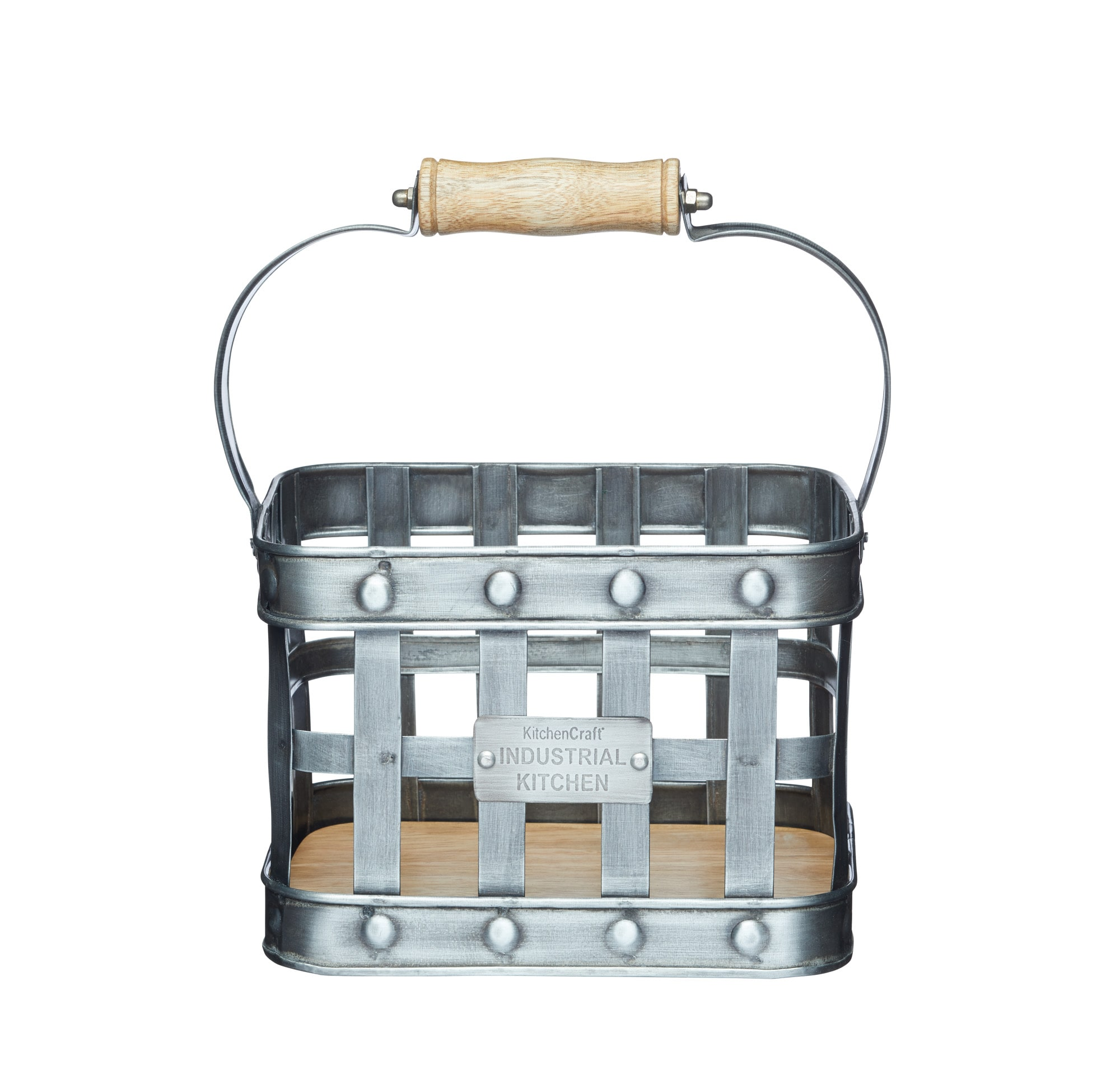 Industrial Kitchen Metal and Mango Wood Condiment Caddy | Condiments ...