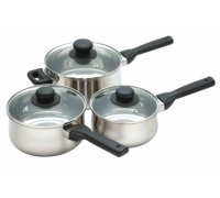 Kitchen Craft Stainless Steel Three Piece Saucepan Set
