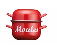 KitchenCraft World of Flavours 2.5 Litre Red Enamel Mussel Pot