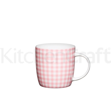 KitchenCraft Fine Bone China Pink Gingham Barrel Mug