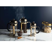 KitchenCraft Le'Xpress Chrome Plated 3 Cup Brass Finish Cafetiere