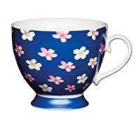 KitchenCraft Set of Four Bone China Blue Ditsy Mugs