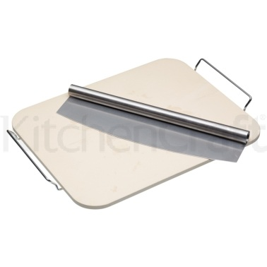 KitchenCraft World of Flavours Italian Large Pizza Stone & Cutter
