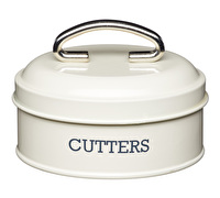 Living Nostalgia Nesting Cookie Cutters with Vintage-Style Metal Container – Antique Cream
