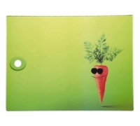 Kitchen Craft Toughened Glass Rectangular Worktop Protector - Funky Carrot