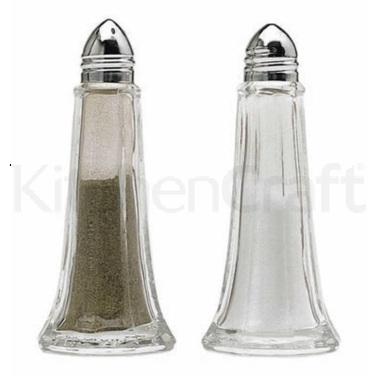 Kitchen Craft Set of 2 Glass Salt and Pepper Shakers