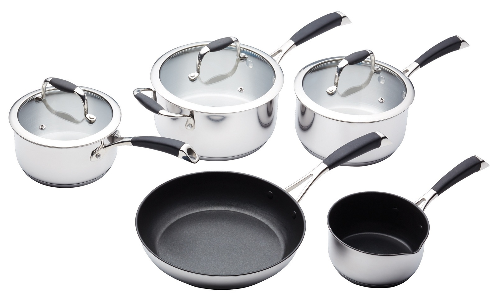 masterclass 5 piece deluxe stainless steel cookware set On kitchen craft pots and pans