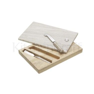 Artesà Marble and Wood Cheese Board & Knife Set