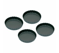 Kitchen Craft Set of Four Non-Stick Mini Fluted Flan Tins