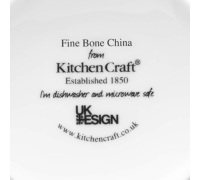 KitchenCraft Fine Bone China Blue Fifties Floral Barrel Mug