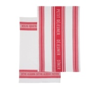 KitchenCraft Jacquard Red Set of 2 Tea Towels