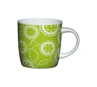 KitchenCraft Fine Bone China Green Circles Barrel Mug