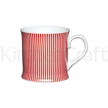 Kitchen Craft Fine Porcelain Red Stripes Mug