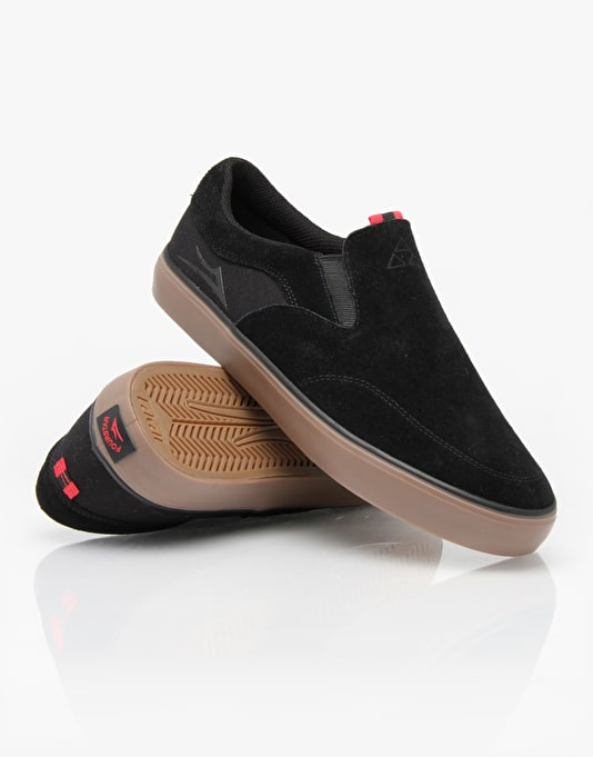 Lakai x Fourstar Owen Slip On Skate Shoes - Black/Gum Suede