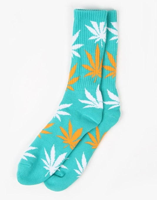 HUF Plantlife Crew Socks - Jade/Orange/White