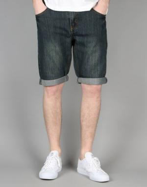 Route One Slim Denim Roll Up Shorts - Washed Indigo