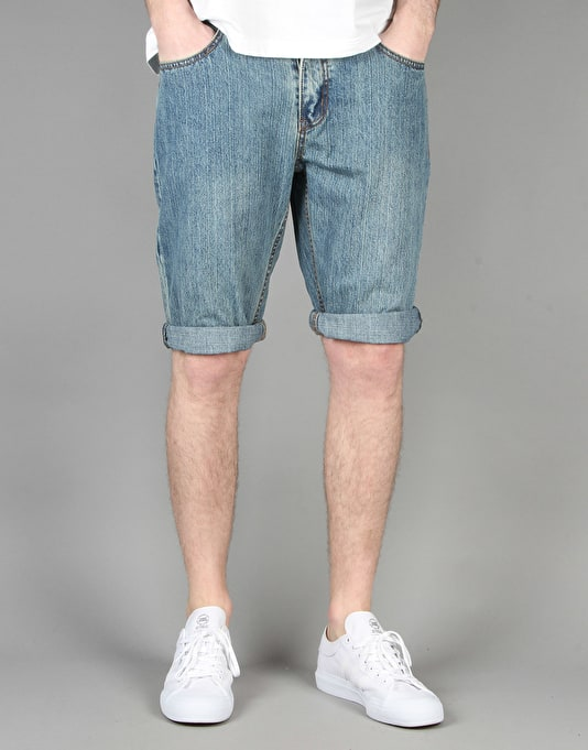 Route One Slim Denim Roll Up Shorts - Light Wash