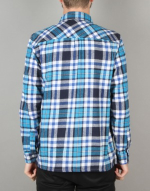Route One Checked Flannel Shirt - Turquoise/Navy