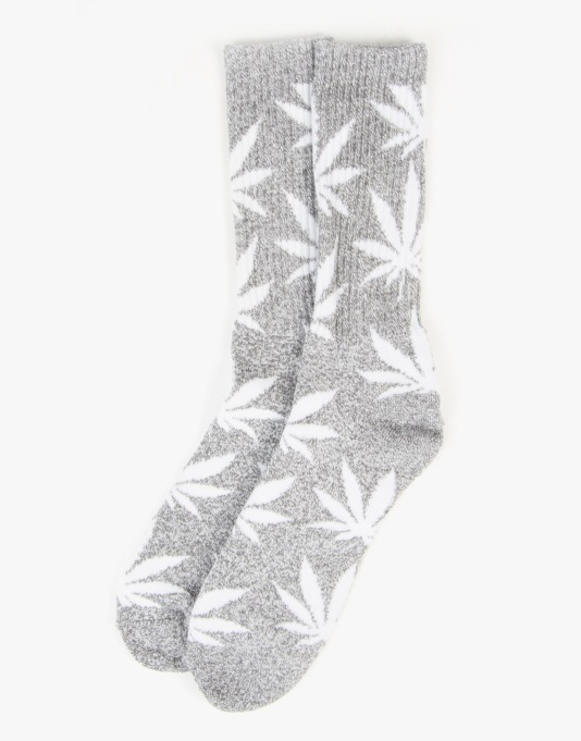 HUF Plantlife Crew Socks - Charcoal Grey Heather/White