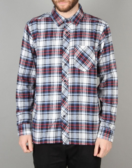 Route One Checked Flannel Shirt - Navy/Light Blue/White