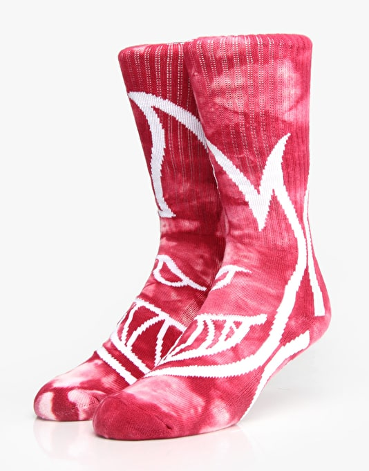 Spitfire Biggerhead Socks - Red/White Tie Dye