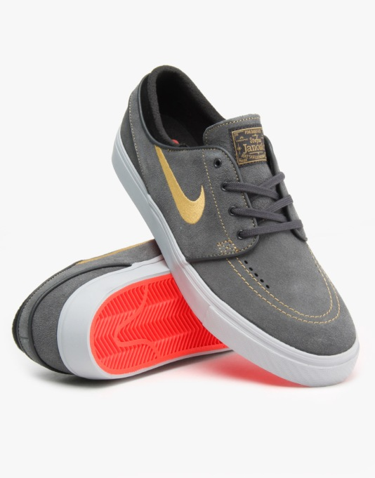 Nike SB Zoom Stefan Janoski Skate Shoes - Anthrct/Mtllc Gld-Blk-Bright