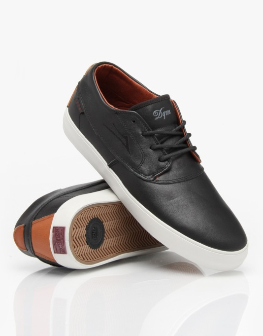 Lakai x DQM Camby Mid Skate Shoes - Black/Brown Leather