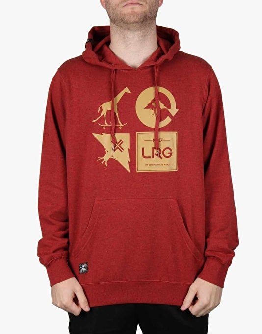 LRG RC Logo Mash Up Pullover Hoodie - Maroon Heather