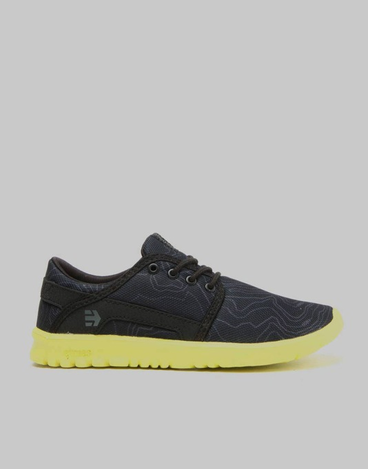 Etnies Scout Boys Skate Shoes - Black/Yellow