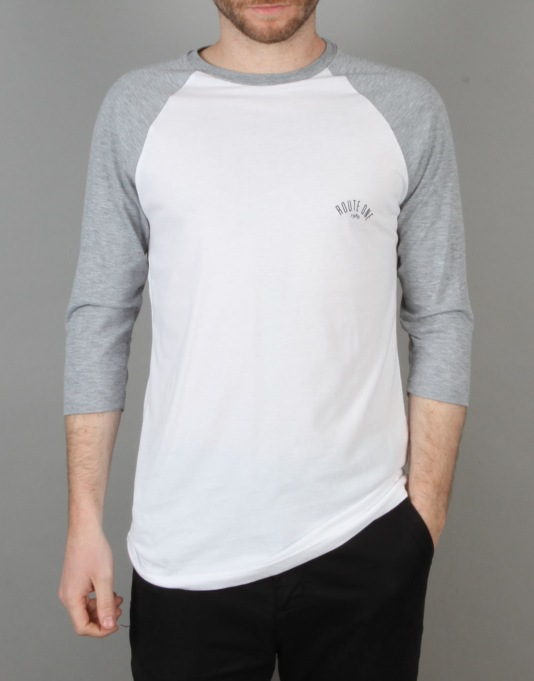 Route One Four Corners Raglan T-Shirt - White/Heather Grey
