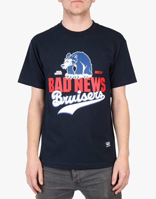 Grizzly x Heel Bruise Bad News Stacked Logo T-Shirt - Navy
