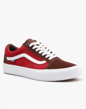Vans Old Skool Pro Skate Shoes - Potting Soil/Jester Red