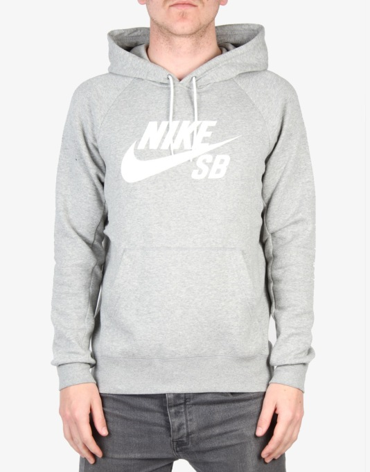 Nike SB Icon Pullover Hoodie Fleece - Dk Grey Heather/White