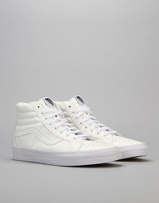 Vans SK8 Hi Reissue (Premium Leather) Skate Shoes - True White