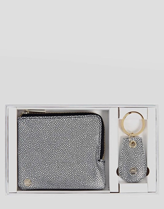 Mi-Pac Zip Purse & Keyring Gift Set - Pebbled Silver/Black