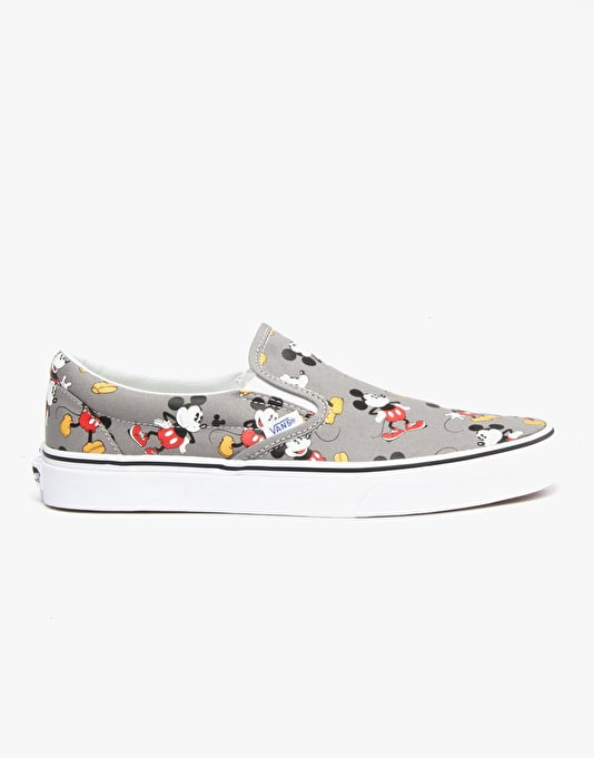 Vans x Disney Classic Slip On Skate Shoes - Mickey Mouse/Frost Gray