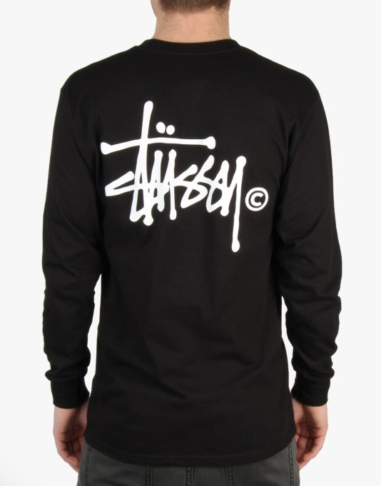Stüssy Basic Logo L/S T-Shirt - Black