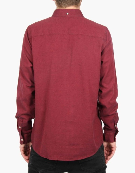Carhartt L/S Dalton Shirt - Cranberry/Dark Navy Heavy Rinsed