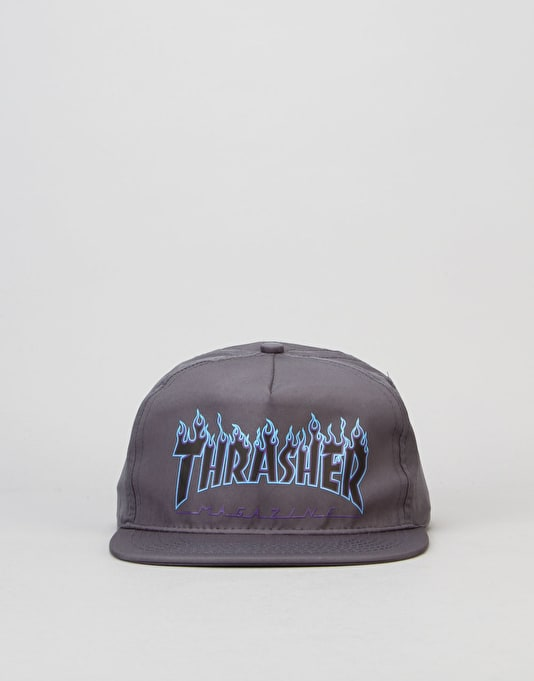 Thrasher Flame Logo Snapback Cap - Grey/Blue/Purple