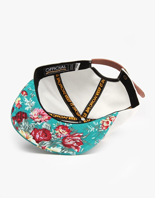 Official Stay Floral Snapback Cap - White