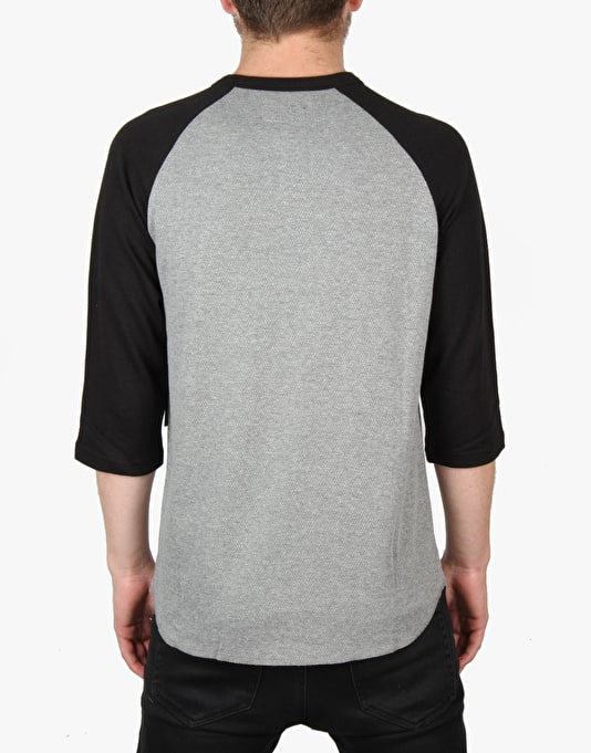Brixton Barley 3/4 Raglan T-Shirt - Heather Grey/Black